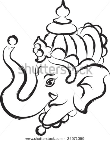 365x470 Simple Ganesh Line Drawings