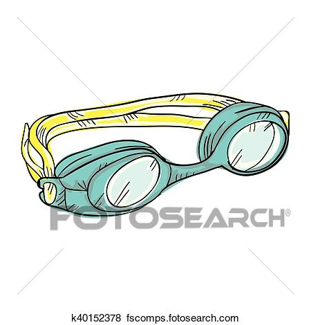 450x470 Clip Art Of Swimming Goggles Equipment K40152378