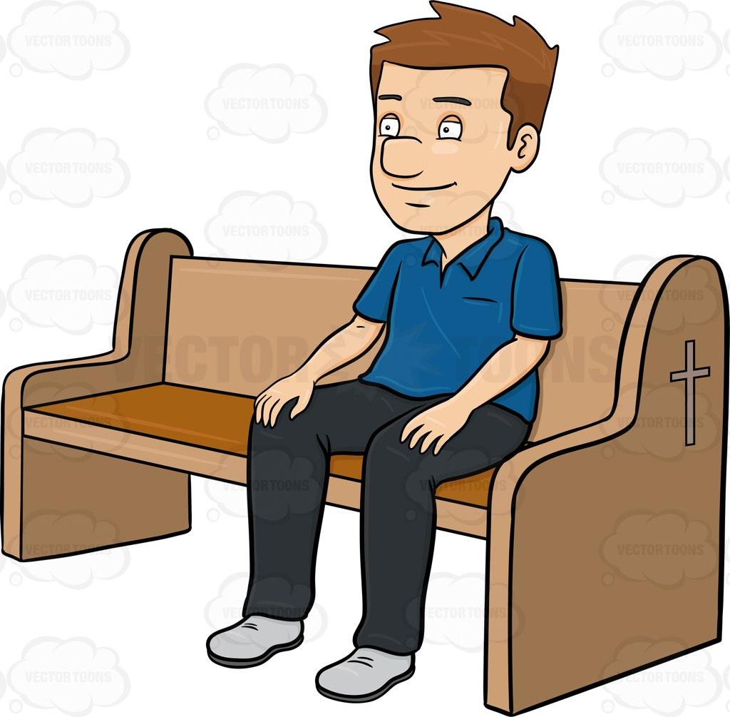 1024x1005 A Man Listening To The Gospel While Attending Mass Cartoon Clipart