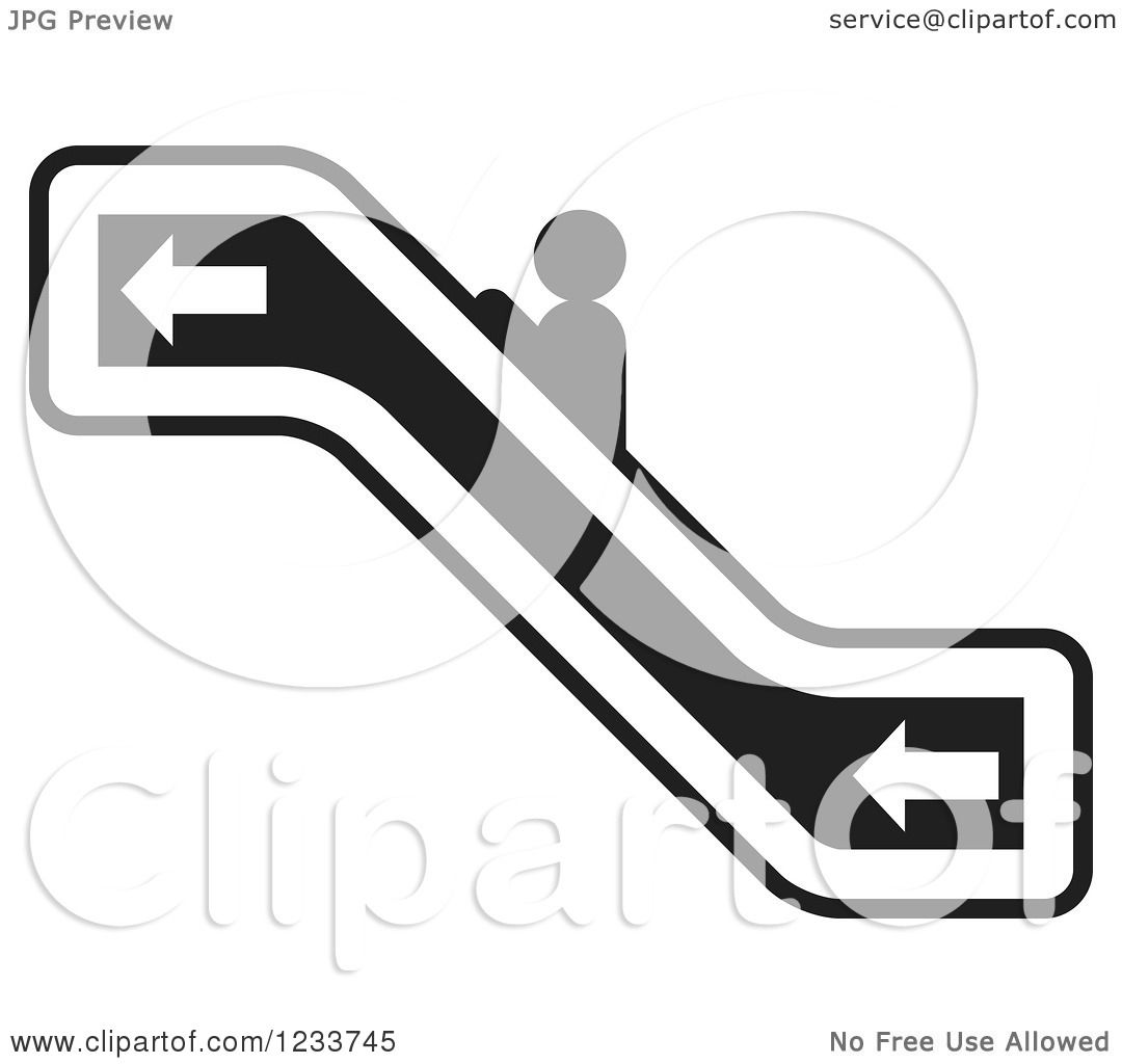 1080x1024 Clipart Of A Person Going Up A Black And White Escalator