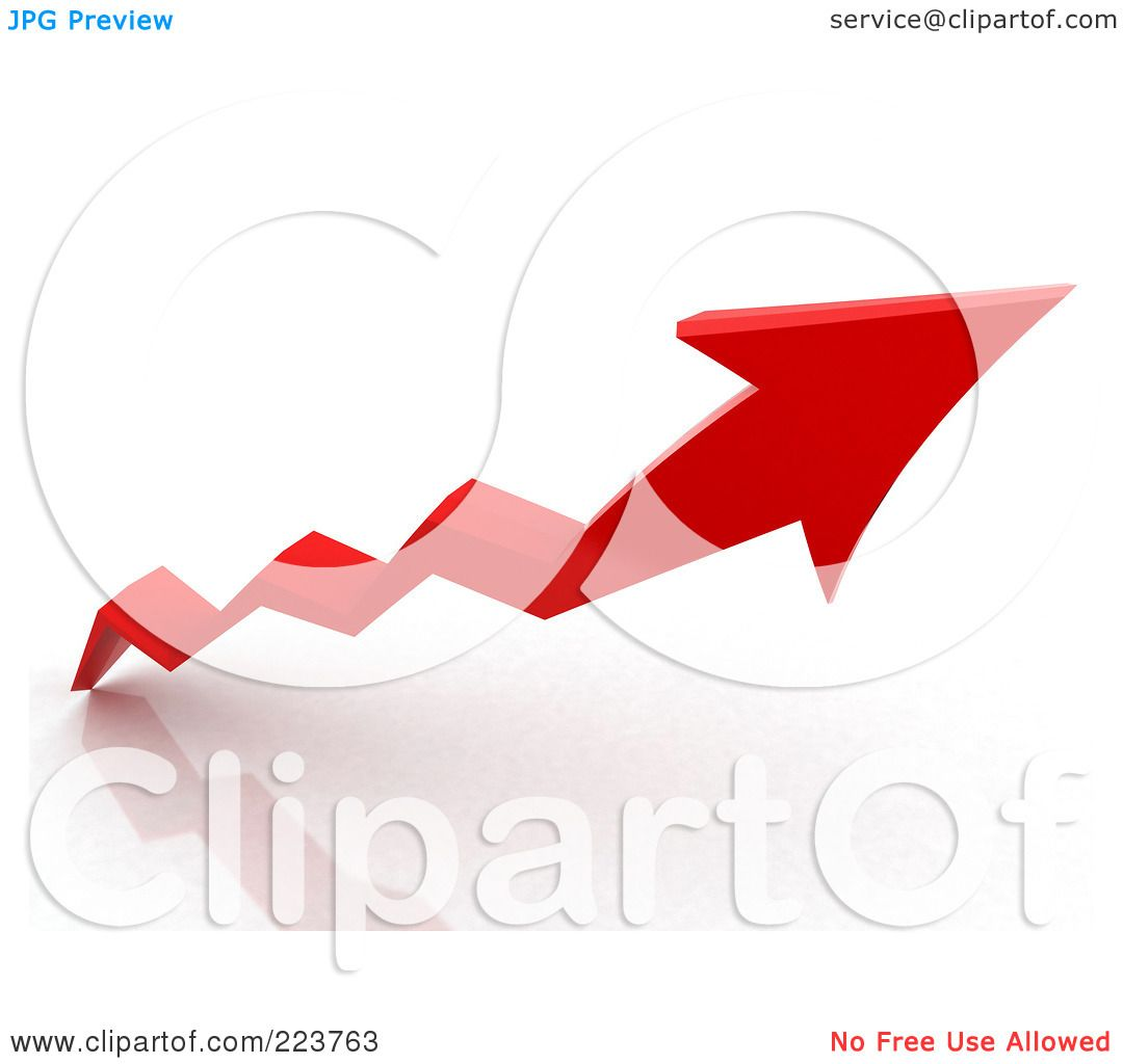 1080x1024 Royalty Free (Rf) Clipart Illustration Of A 3d Red Jagged Arrow