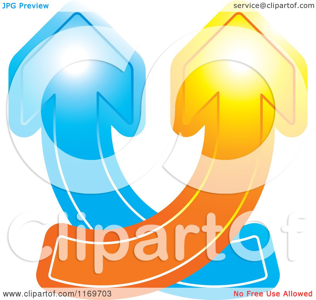 1080x1024 Clipart Of Blue And Orange Arrows Crossing And Going Up