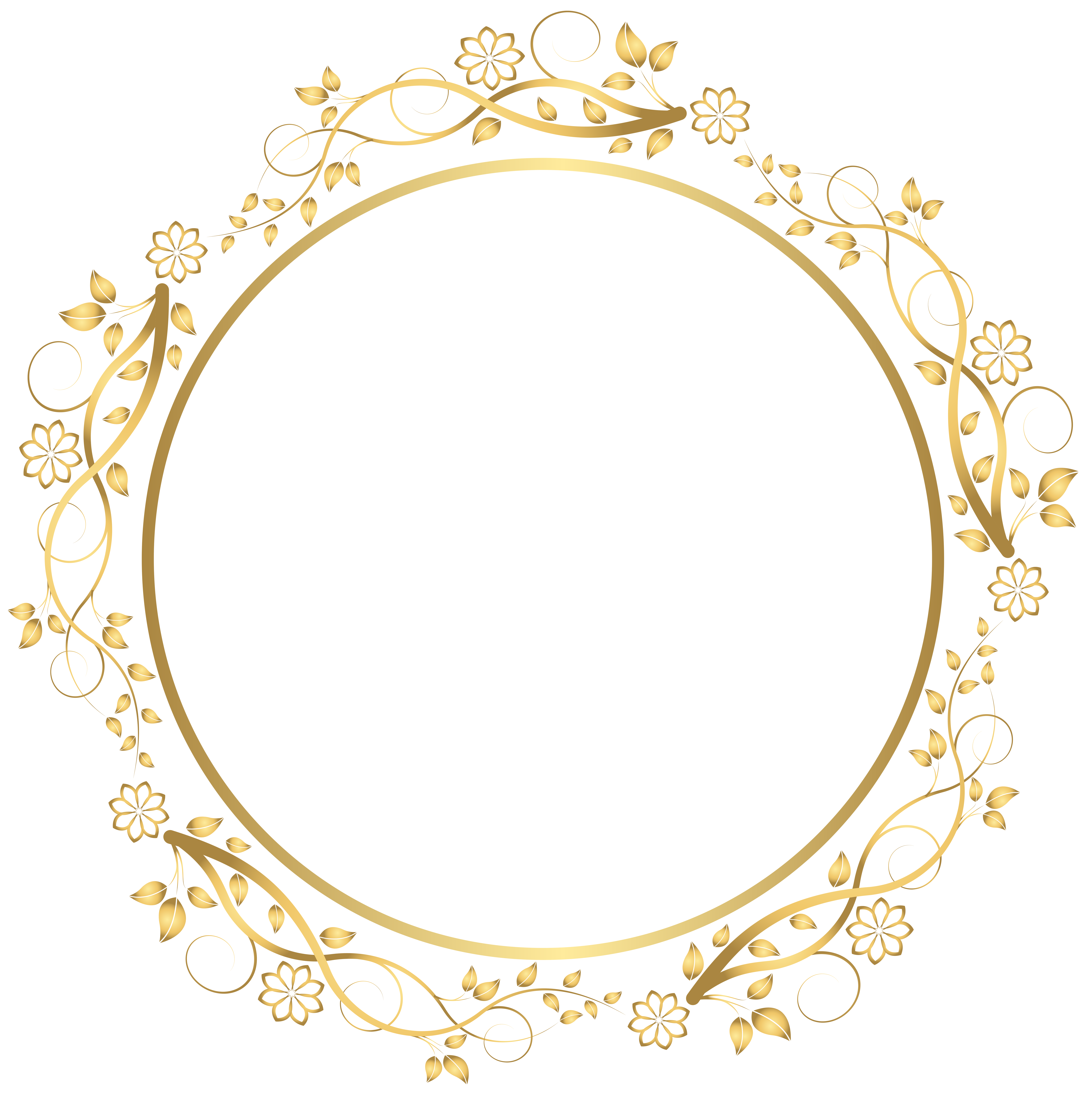 7976x8000 Gold Round Floral Border Transparent Png Clip Art Imageu200b Gallery