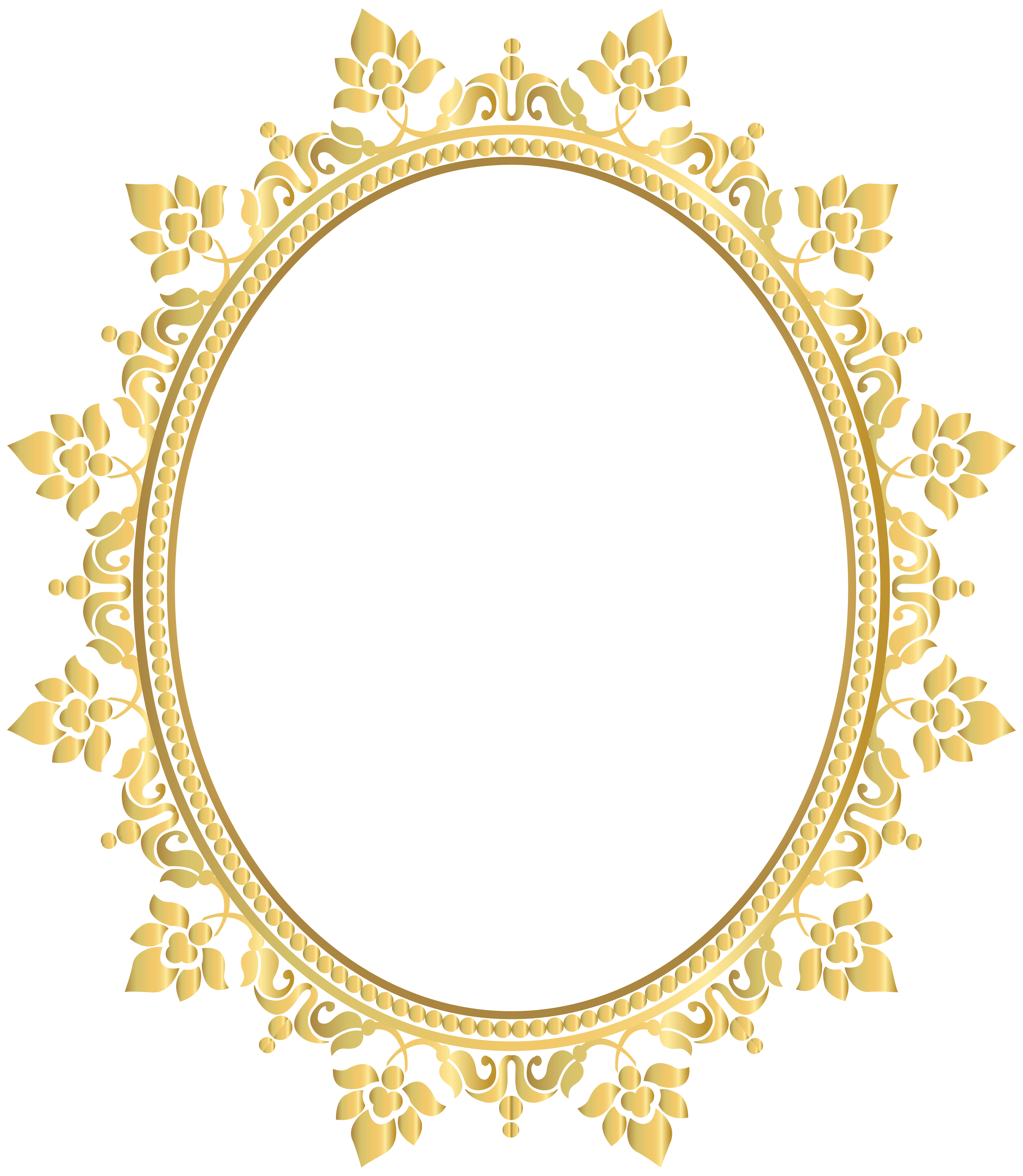 6957x8000 Gold Clipart Round Frame