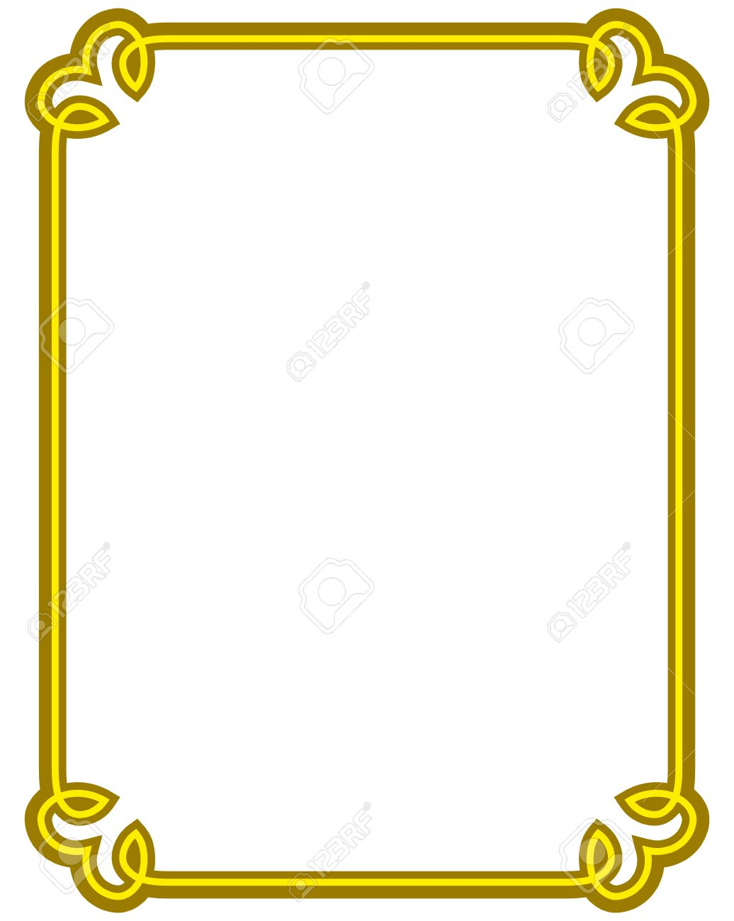 1036x1300 Yellow Gold Border Frame Deco Vector Art Simple Line Corner