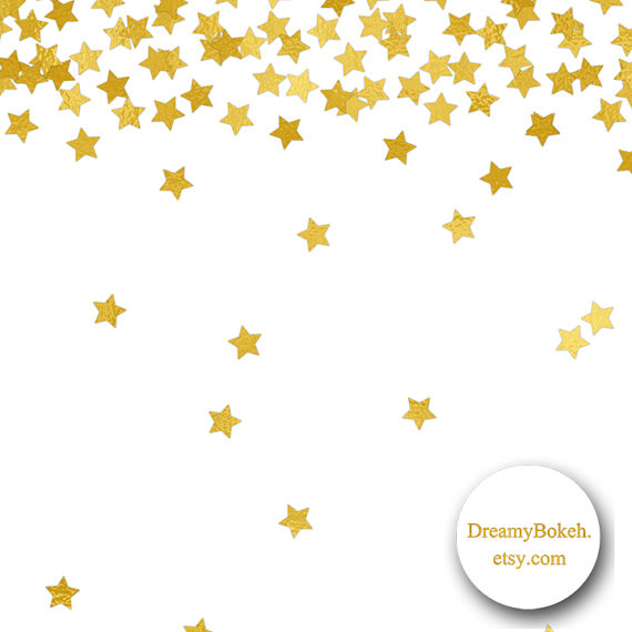 570x570 Gold Foil Stars Confetti Digital Paper Frames Borders 12x12 Inch