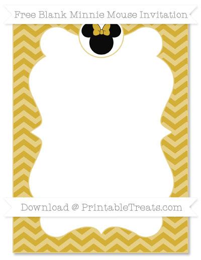 400x518 Free Metallic Gold Chevron Blank Minnie Mouse Invitation Minnie