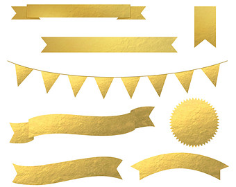 340x270 High Quality Gold Foil Washi Tape Clip Art 14 Pieces