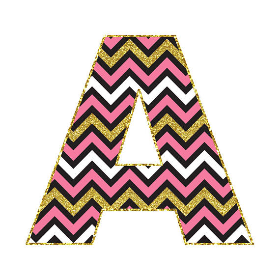 570x570 Birthday Chevron Pink Black Gold Alphabet Clipart Gold Chevron