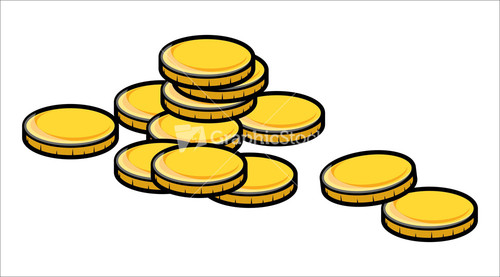 500x277 Cartoon Gold Coins Clipart Vector Illustration Stock Image