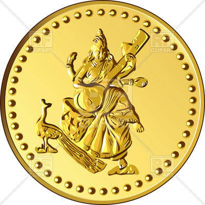 400x400 Shiny Gold Coin With Dancing And Playing Indian Four Armed Shiva