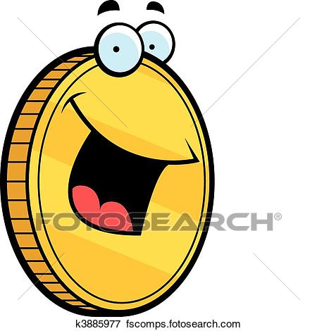 450x470 Clip Art Of Gold Coin Smiling K3885977