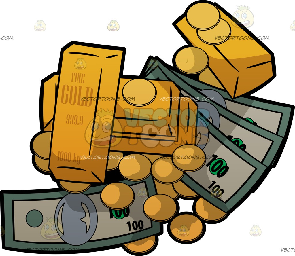 1024x889 A Pile Of Cash Gold Bars And Gold Coins Cartoon Clipart