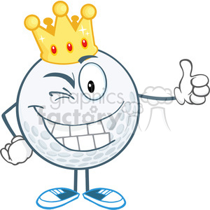 300x300 Royalty Free 5720 Royalty Free Clip Art Winking Golf Ball Cartoon
