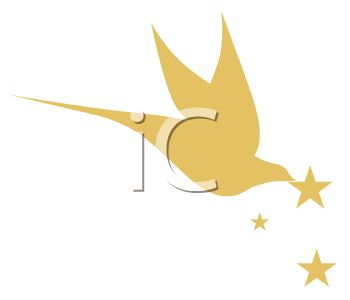 350x300 Gold Dove With Stars