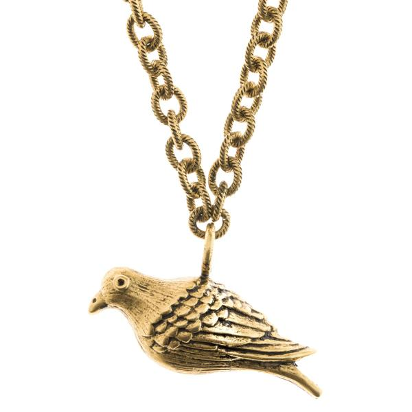 600x600 Large Peace Dove Necklace Pendant In Antique Gold Finish Orchard