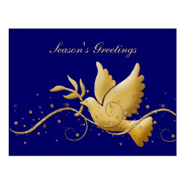 630x630 Season's Greetings Dove Of Peace Gold Blue Postcard