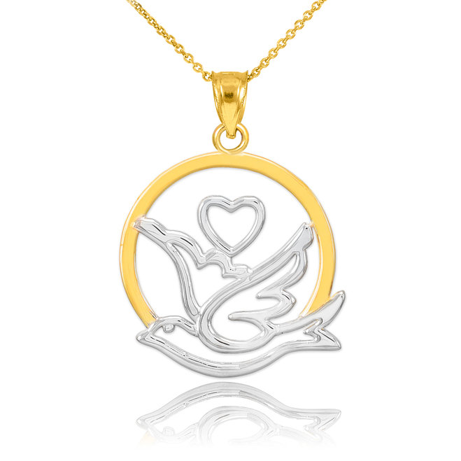 659x659 White Gold Dove With Heart Pendant Necklace