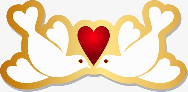 650x320 Gold Dove, Golden, Pigeons, Hearts Png And Vector For Free Download