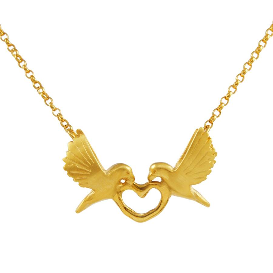 900x899 Gold Love Dove Necklace By Alice Stewart