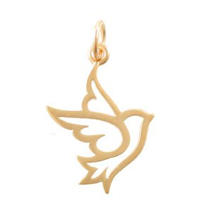 300x300 Open Design Dove Pendant Or Charm In 24k Gold Plated