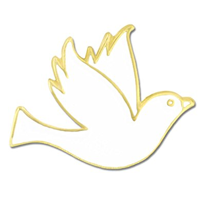 395x395 Pinmart's White Dove Gold Plated Enamel Lapel Pin