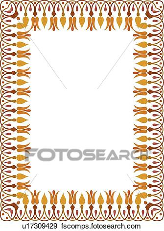 335x470 Clip Art Of Red, Gold And Orange Flower Victorian Border U17309429