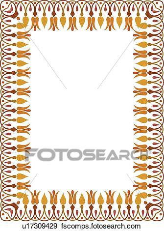 335x470 Clip Art Of Red, Gold And Orange Flower Victorian Border U17309429