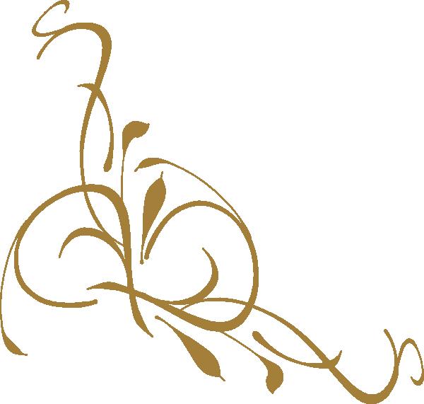 600x571 Gold Floral Design Clip Art