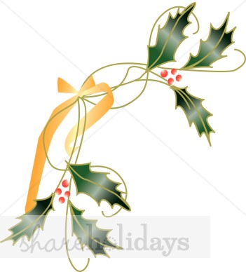 351x388 Gold Ribbon And Holly Page Corner Holly Clipart