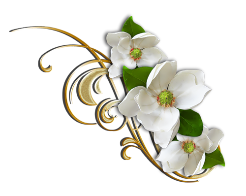 500x398 White Flower With Gold Decorative Elemant Clipart Flower