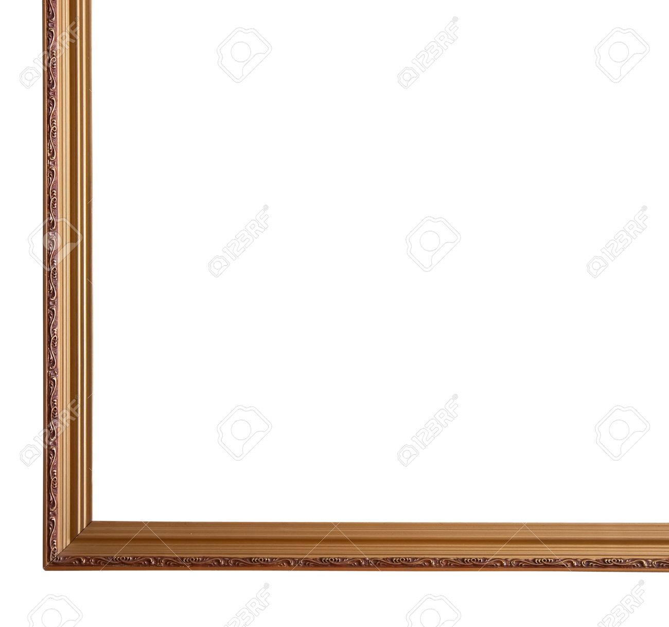 1300x1218 Isolated Thin Gold Border On White Background Stock Photo Picture