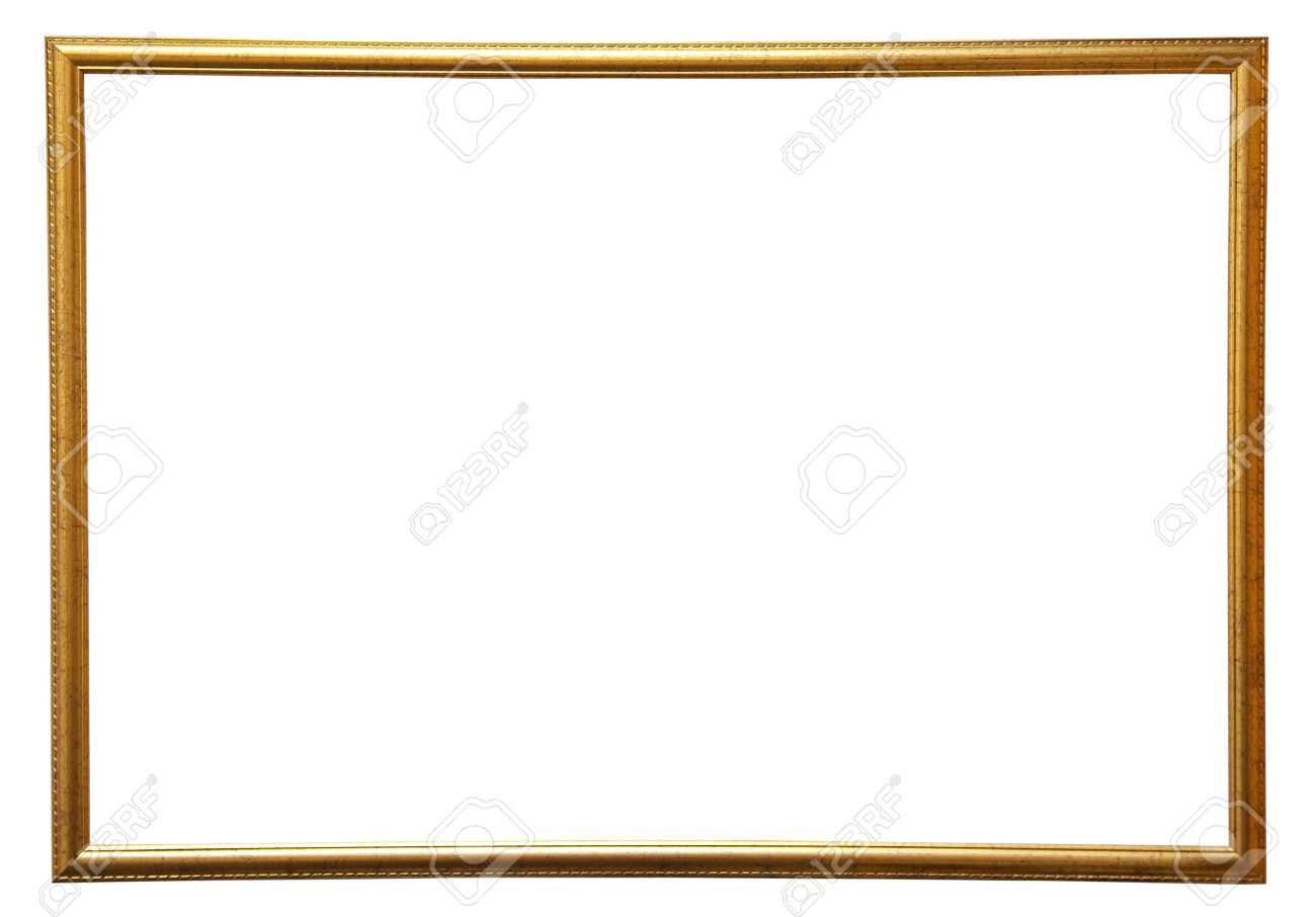 1300x906 Modern Thin Gold Picture Frame, Isolated Stock Photo, Picture