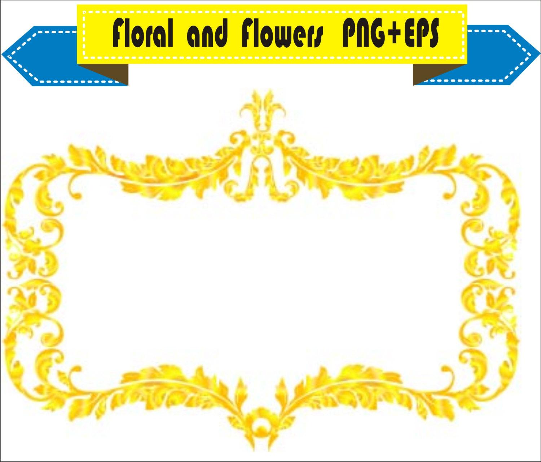 1500x1280 Royal Gold Frame Floral Vector Clipart Png Eps Digital Files