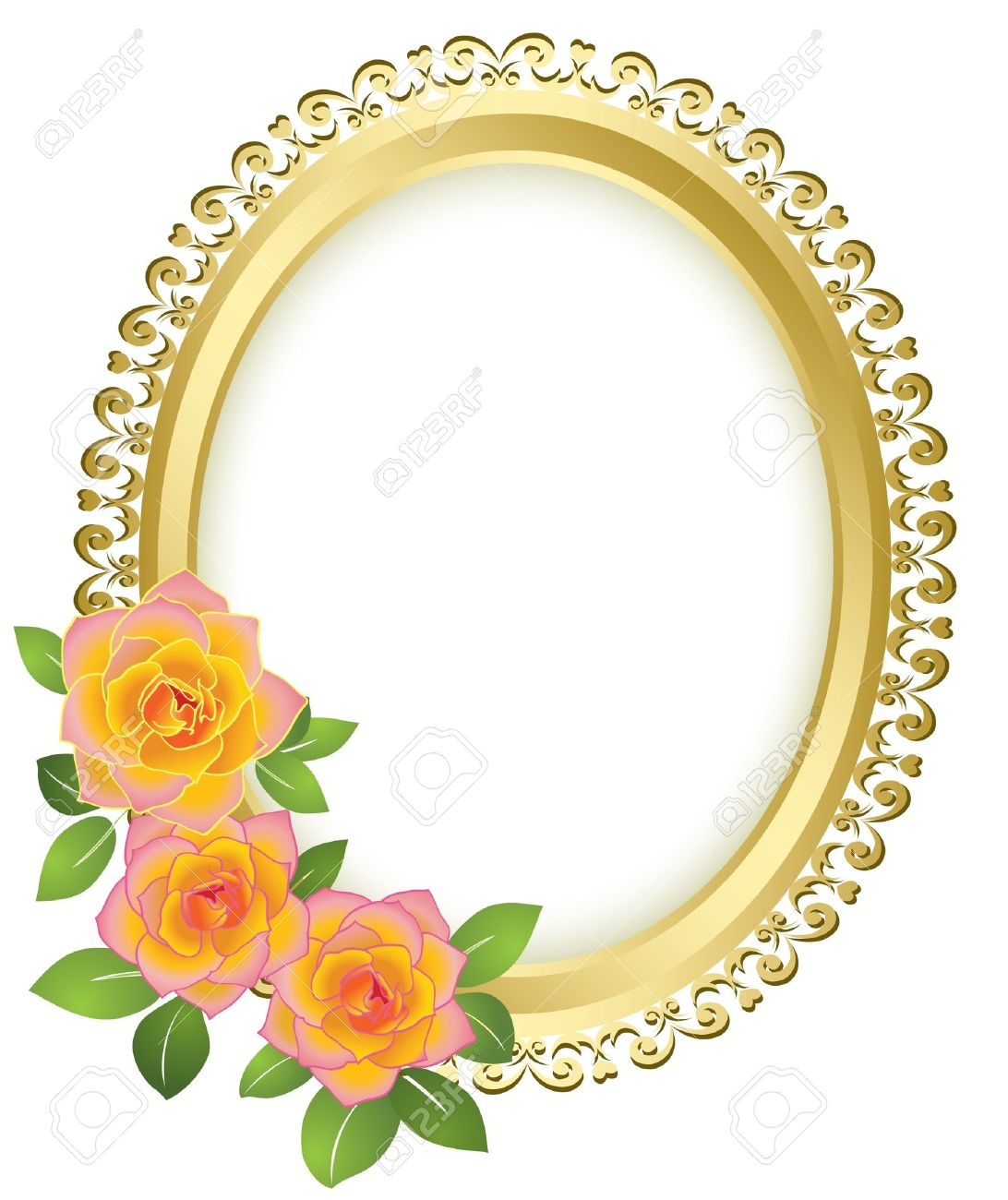 1092x1300 Yellow Rose Clipart Gold Border