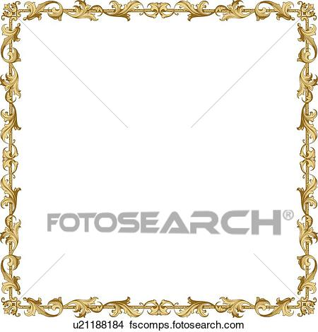 450x470 Clipart Of Gold Leaf Decorative Frame U21188184