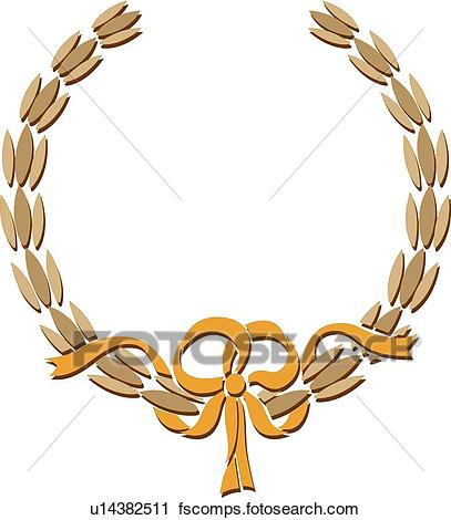 407x470 Clipart Of Gold Wreath And Ribbon Frame U14382511