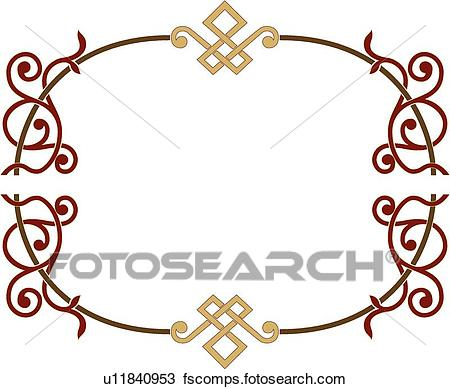 450x389 Clipart Of Ornate Red, Gold And Brown Frame U11840953