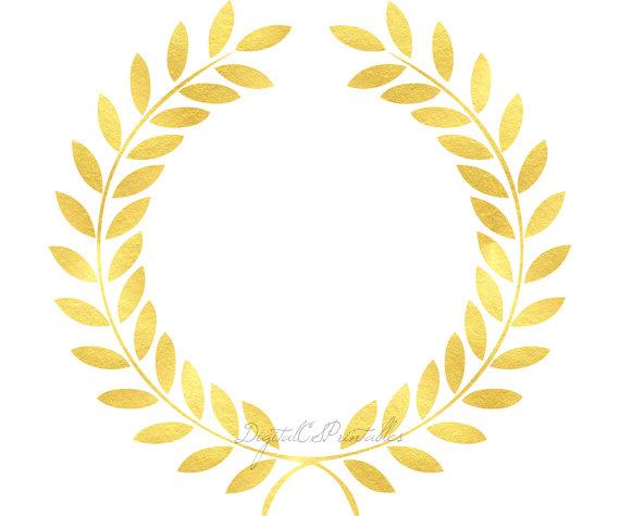 570x475 Gold Laurel Clipart Gold Floral Frame Clipart Gold Foil Clip