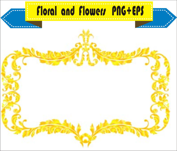 570x486 Royal Gold Frame Floral Vector Clipart Png Eps Digital Files