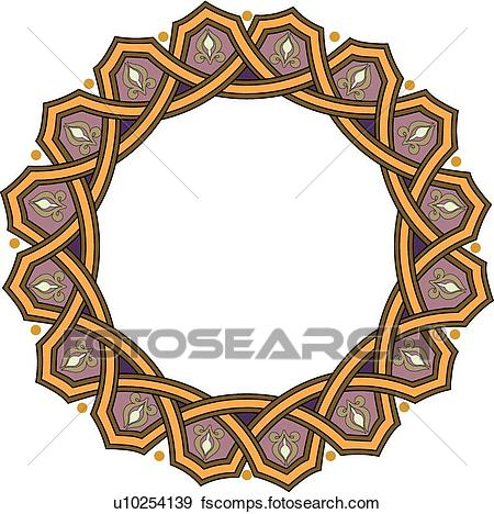 450x468 Clip Art Of Gold Purple Circle Frame With Copy Space U10254139