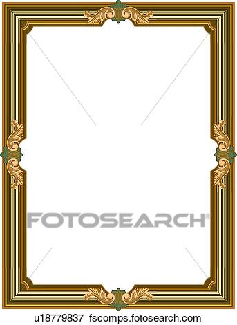 343x470 Clip Art Of Green, And Gold Leaf Victorian Border U18779837