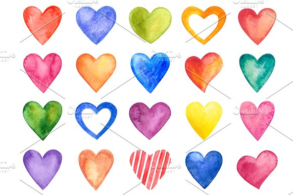 580x386 Watercolor Amp Shimmer Hearts Confetti Clip Art Hand Painted Indie