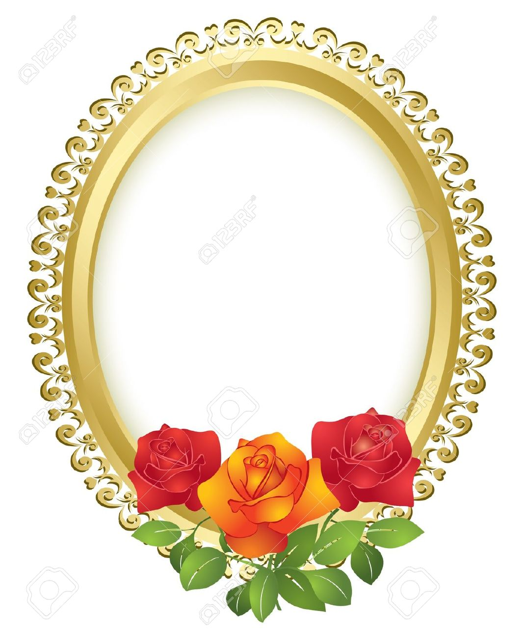 1068x1300 Yellow Rose Clipart Gold Frame