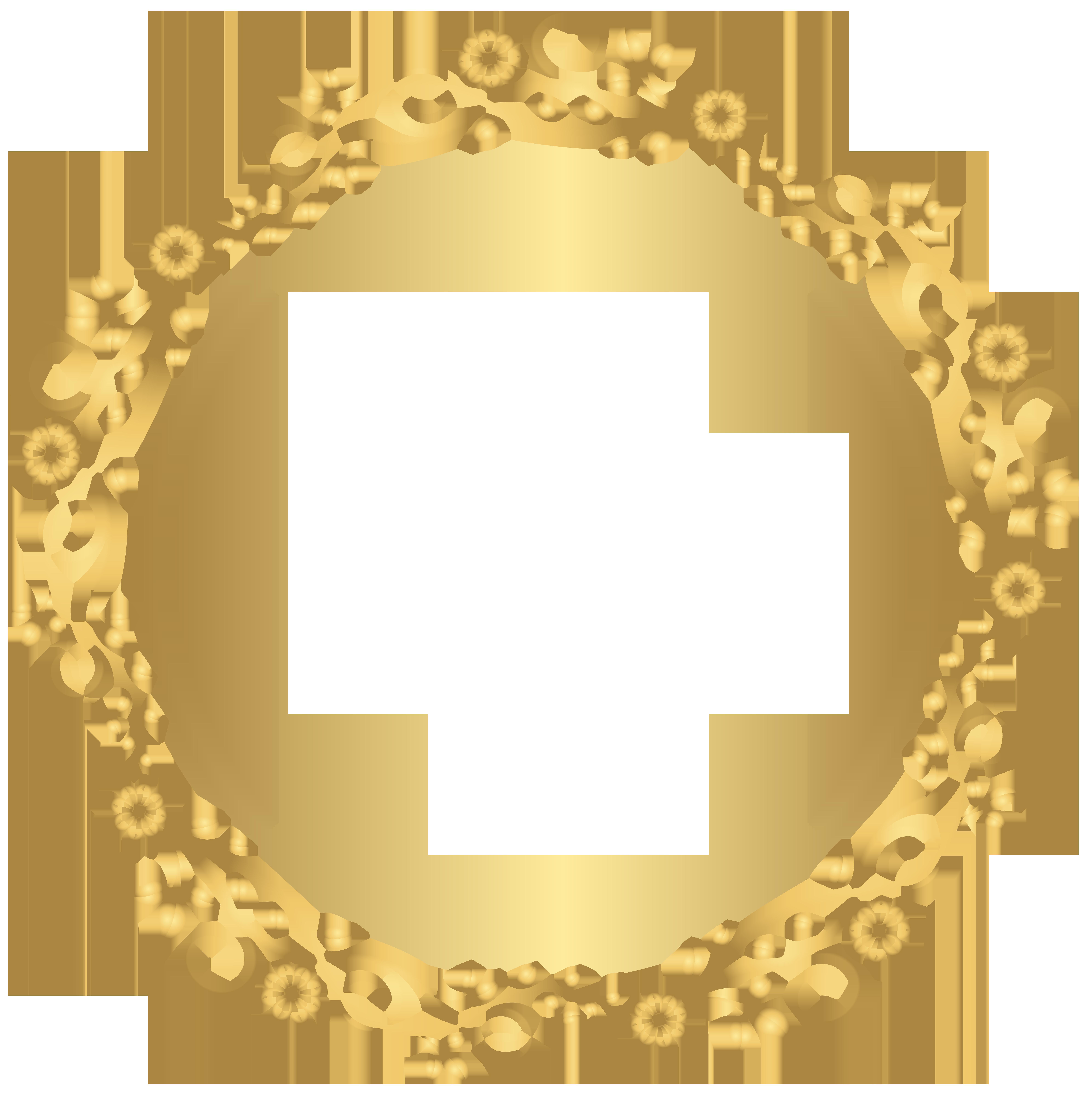 7976x8000 Gold Round Floral Border Transparent Png Clip Art Image