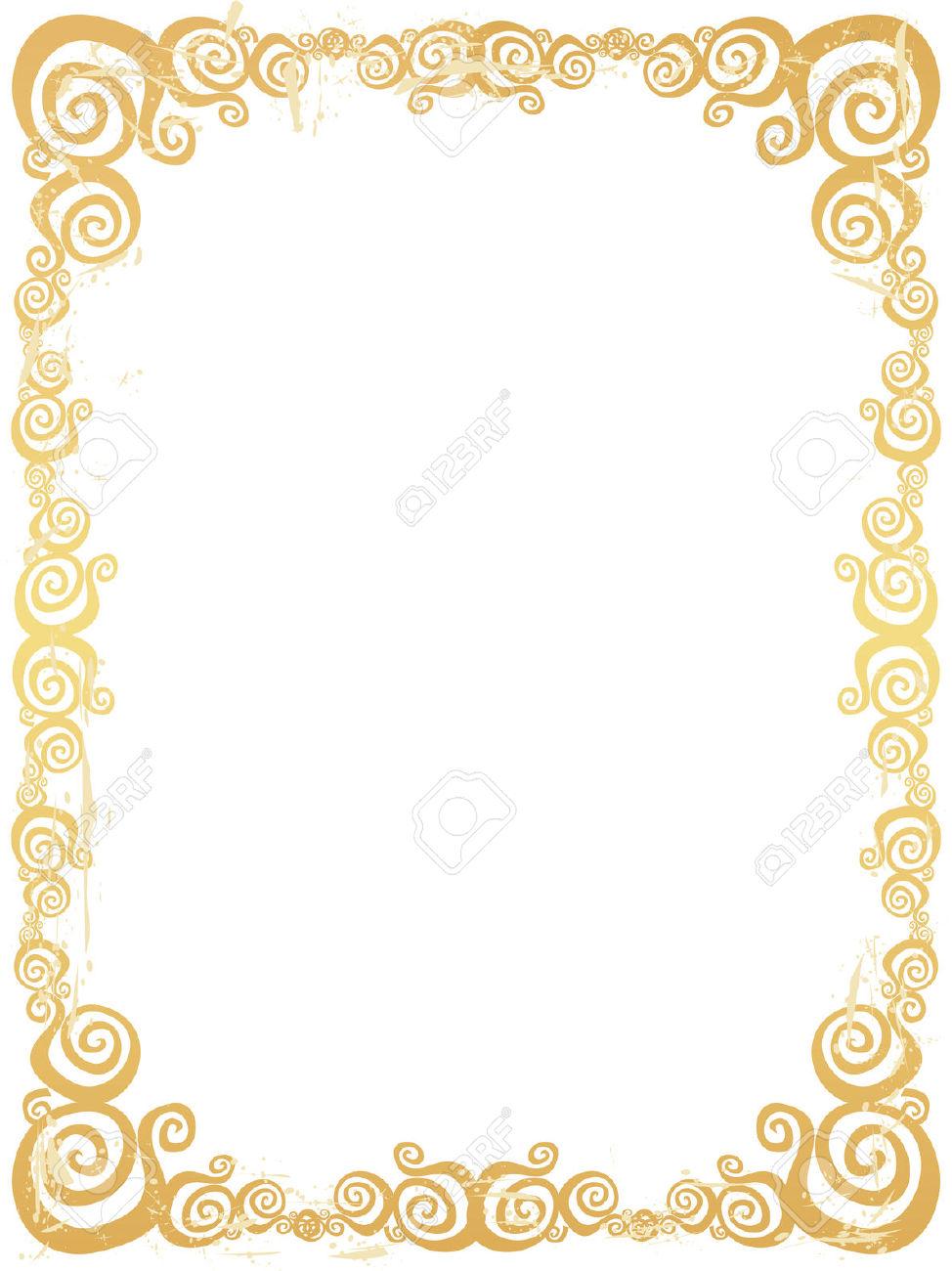 974x1300 Gold Border Clipart