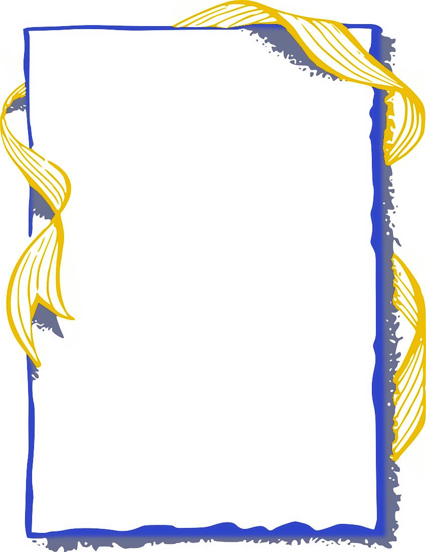 850x1100 Blue And Gold Border Clip Art