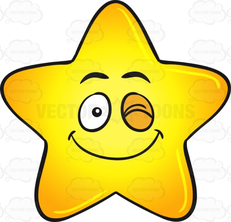800x770 Single Happy Winking Gold Star Cartoon Emoji Cartoon Clipart