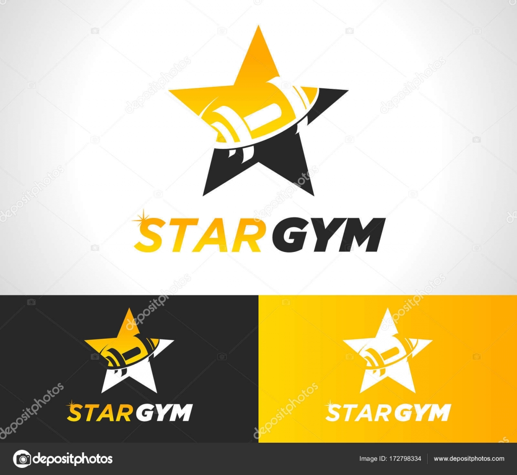 1024x941 Gold Star Gym Fitness Logo Icon Stock Vector Mictoon