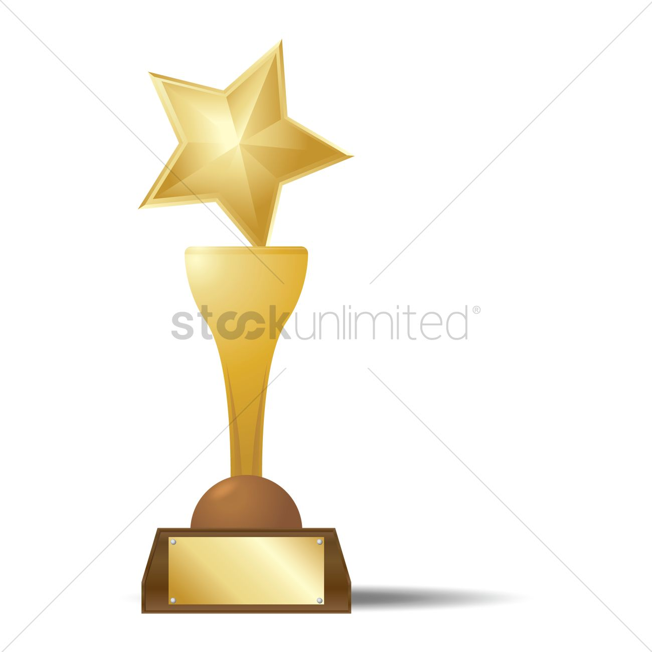 1300x1300 Gold Star Trophy Vector Image